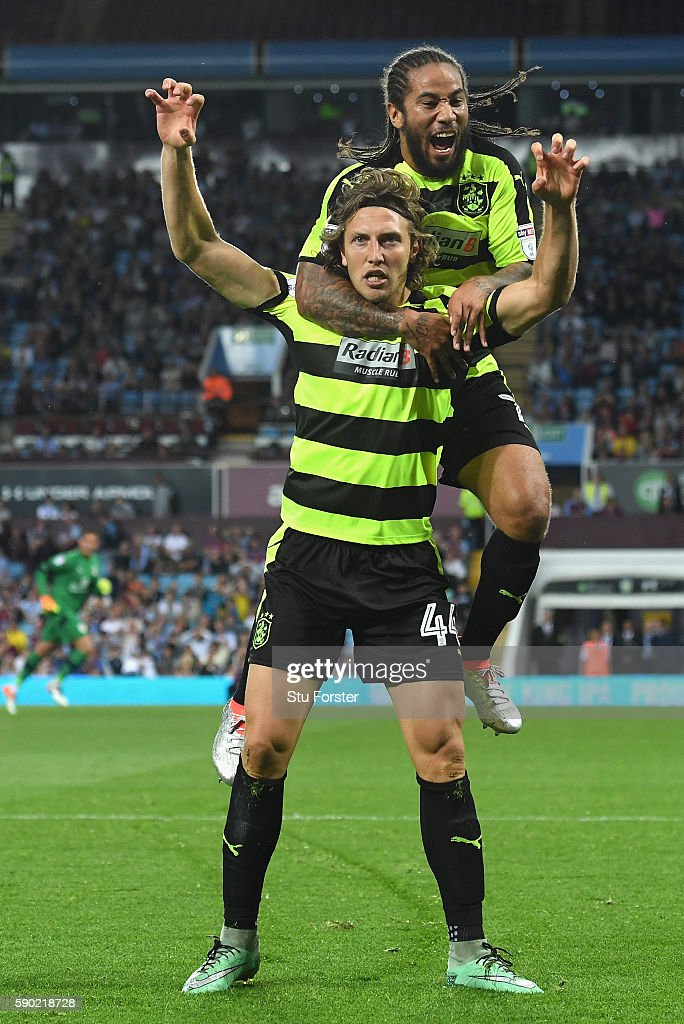 Michael Hefele of Huddersfield Town celebrates scoring his sides first goal with Sean Scannell of Huddersfield Town during the Sky Bet Championship match between Aston Villa and Huddersfield Town at Villa Park on August 16, 2016 in Birmingham, England.