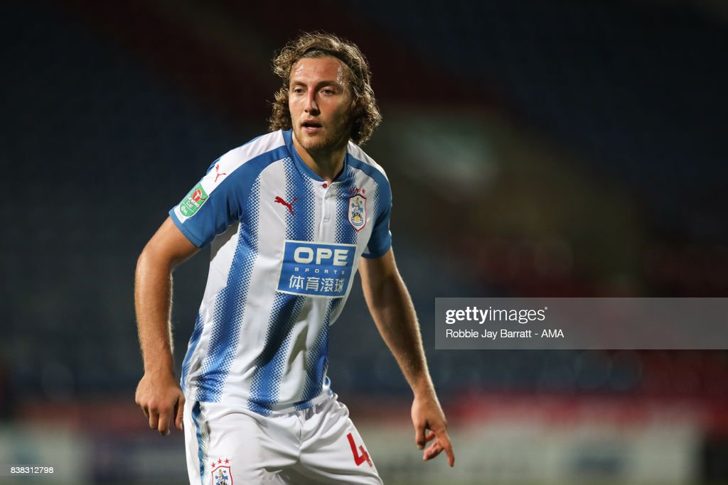Michael Hefele of Huddersfield Town during the Carabao Cup Second Round match between Huddersfield Town and Rotherham United at The John Smiths Stadium on August 23, 2017 in Huddersfield, England.
