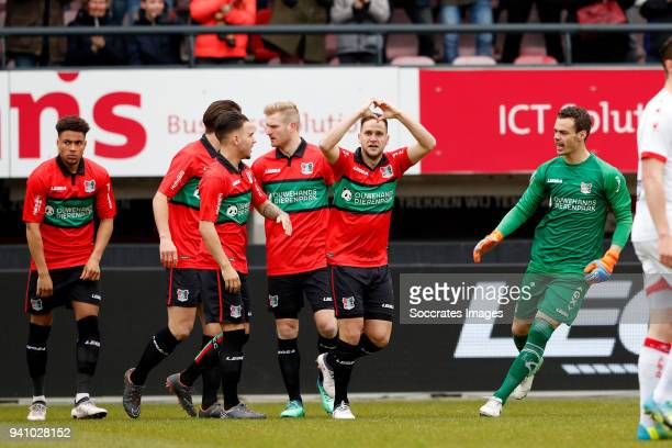 Michael Heinloth of NEC Nijmegen celebrates 10 during the Dutch Jupiler League match between NEC Nijmegen v Telstar at the Goffert Stadium on April 2...