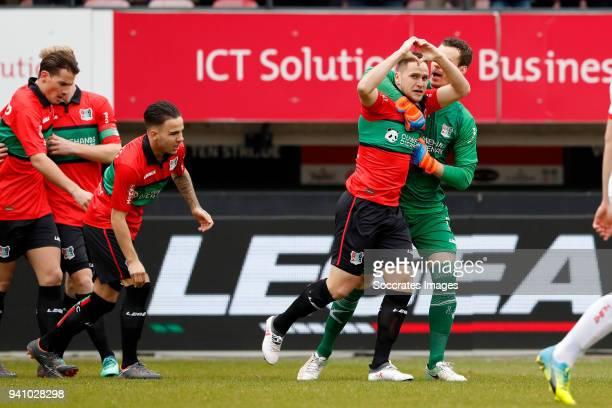 Michael Heinloth of NEC Nijmegen celebrates 10 with Joris Delle of NEC Nijmegen during the Dutch Jupiler League match between NEC Nijmegen v Telstar...