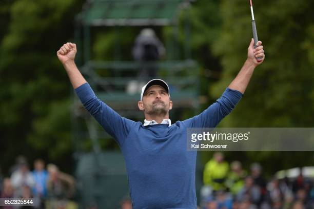 Michael Hendry of New Zealand celebrates his win during day four of the New Zealand Open at Millbrook Resort on March 12 2017 in Queenstown New...