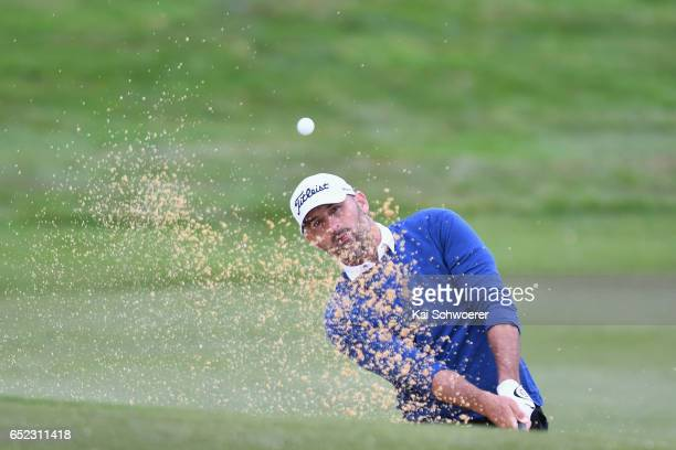 Michael Hendry of New Zealand plays a bunker shot during day four of the New Zealand Open at Millbrook Resort on March 12 2017 in Queenstown New...