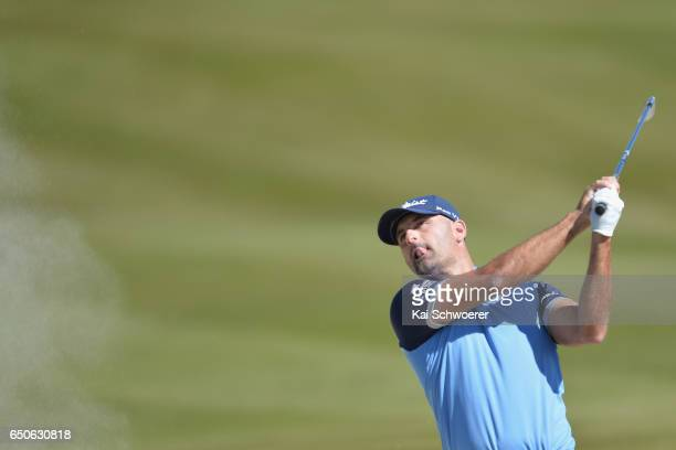 Michael Hendry of New Zealand plays a bunker shot during day two of the New Zealand Open at Millbrook Resort on March 10 2017 in Queenstown New...