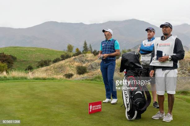 Michael Hendry of New Zealand reacts during day one of the ISPS Handa New Zealand Golf Open at The Hills Golf Club on March 1 2018 in Queenstown New...