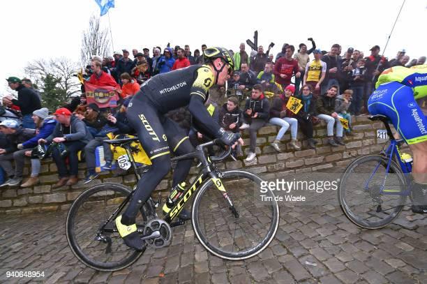 Michael Hepburn of Australia and Team Michelton Scott / Wall of Geraardsbergen / De Muur / Fans / Public / during the 102nd Tour of Flanders 2018 -...