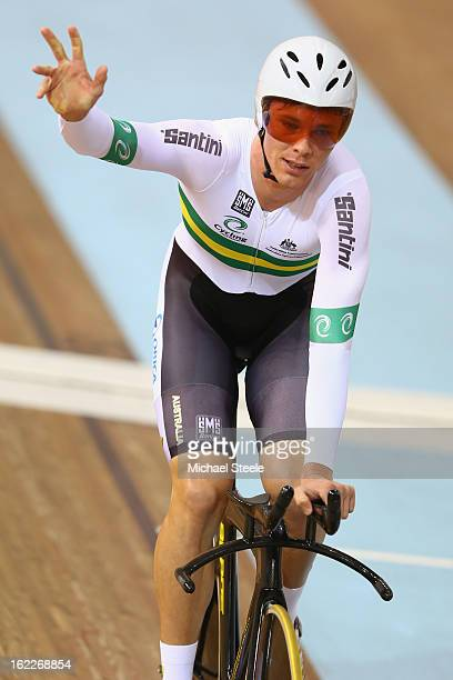 Michael Hepburn of Australia celebrates winning gold in the men's individual pursuit final during day two of the UCI Track World Championships at...
