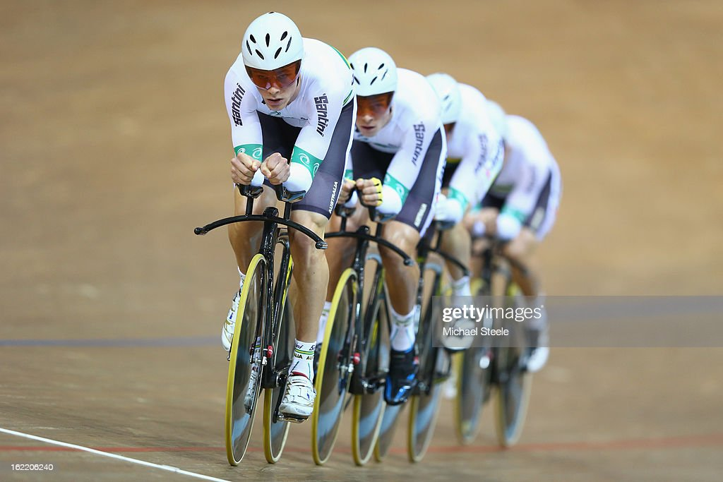 Michael Hepburn (L) of Australia leads the men's team pusruit to gold during day one of the UCI Track World Championships at Minsk Arena on February 20, 2013 in Minsk, Belarus.