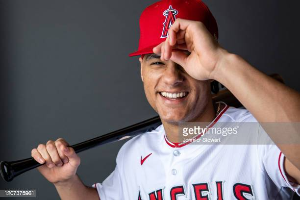 Michael Hermosillo of the the Los Angeles Angels poses for a photo during Photo Day at Tempe Diablo Stadium on February 18 2020 in Tempe Arizona