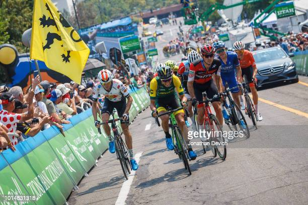 Michael Hernandez of the United States and Aevolo Cycling along with Joey Rosskopf of the United States and the BMC Racing Team and Taylor Shelden of...