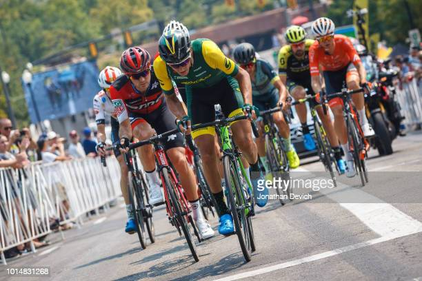 Michael Hernandez of the United States and Aevolo Cycling leading the breakaway up a climb during stage 4 of the 14th Larry H Miller Tour of Utah on...