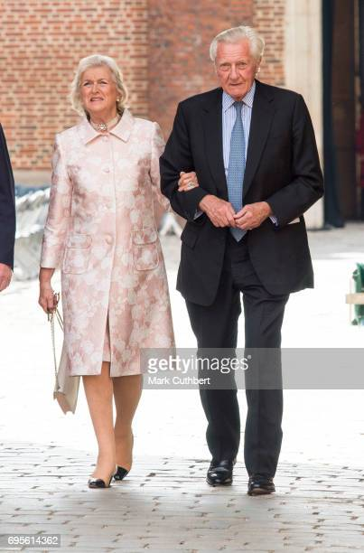 Michael Heseltine and Anne Heseltine attend Evensong in celebration of the centenary of the Order of the Companions of Honour at Hampton Court Palace...