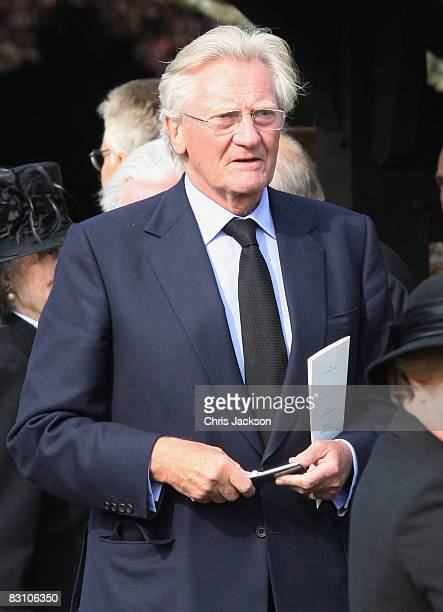 Michael Heseltine attends a thanksgiving service for Gerald Ward godfather of Prince Harry at St Mary's Church Chiltern Foliat on October 3 2008 near...