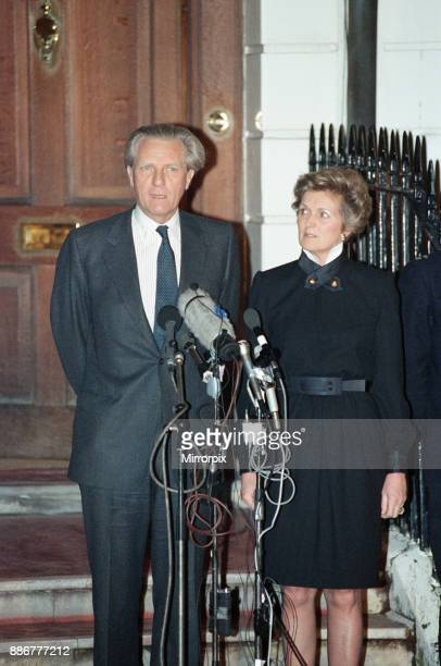Michael Heseltine concedes victory for leadership of the conservative party to John Major Pictured outside his Belgravia home wife Anne by his side...