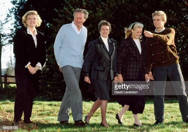 Michael Heseltine strolls with his family in the grounds of his home in Thenford Northamptonshire England on November 18 1990 Heseltine was in the...