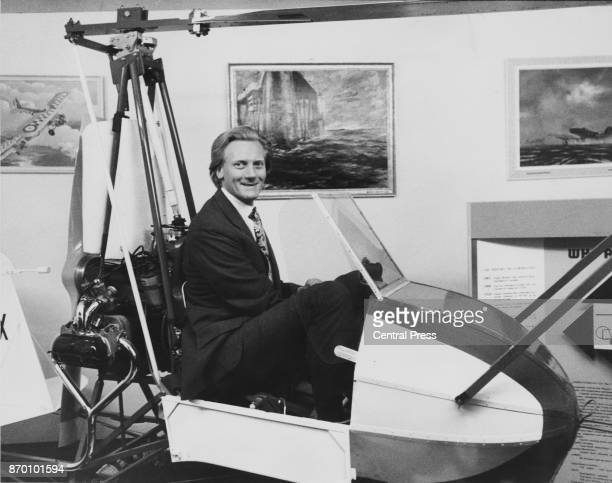 Michael Heseltine the Minister of State for Aerospace and Shipping pictured in a WHE Airbuggy autogyro after opening the Plane Show on the South Bank...