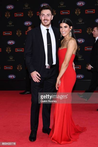 Michael Hibberd and partner Anthea Sidiropolous arrives ahead of the 2017 Brownlow Medal at Crown Entertainment Complex on September 25 2017 in...