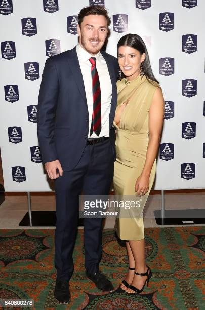 Michael Hibberd of the Demons and partner arrive during the AFL All Australian team announcement at the Palais Theatre on August 30 2017 in Melbourne...