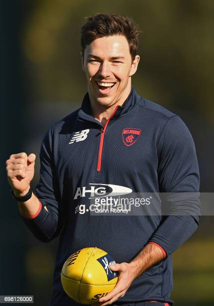 Michael Hibberd of the Demons celebrates winning a game during a Melbourne Demons AFL training session at Gosch's Paddock on June 20 2017 in...