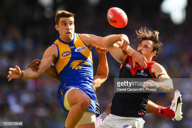 Michael Hibberd of the Demons competes for a mark with Elliot Yeo of the Eagles during the 2018 AFL round 22 match between the West Coast Eagles and...