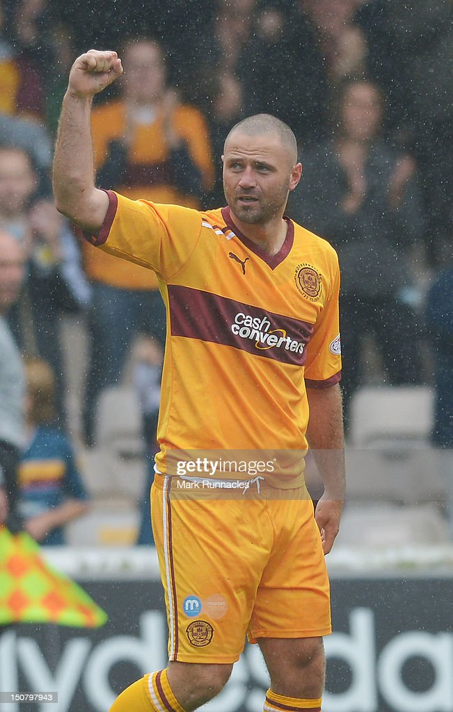Michael Higdon of Motherwell celebrates his goal against St Mirren during the Clydesdale Bank Scottish Premier League match between Motherwell and St Mirren at Fir Park on August 26, 2012 in Motherwell, Scotland.
