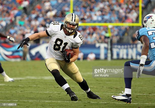 Michael Higgins of the New Orleans Saints runs with the ball against the Tennessee Titans at LP Field on August 30 2012 in Nashville Tennessee