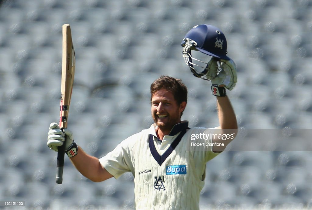 Michael Hill of the Bushrangers celebrates scoring his century during day three of the Sheffield Shield match between the Victorian Bushrangers and Queensland Bulls at the Melbourne Cricket Ground on February 20, 2013 in Melbourne, Australia.