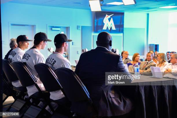 Michael Hill with he Miami Marlins top three draft picks Brian Miller Trevor Rogers Joe Dunand and Stan Meek visit Marlins Park for a press...