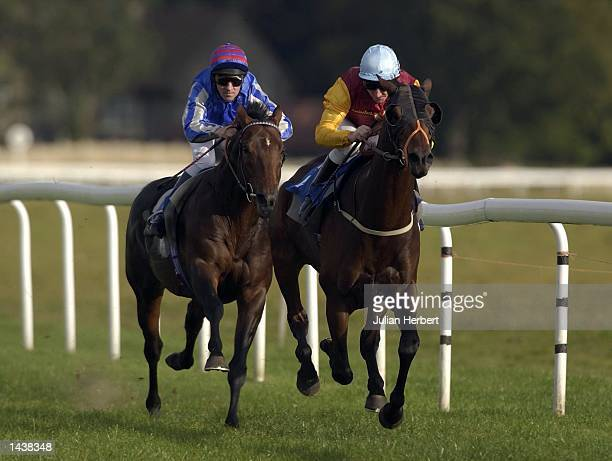 Michael Hills and Calcutta start their run for home beating the Jimmy Fortune ridden Wannabe Around in the 2 Horse The Morris Dancer Conditions...