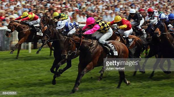 Michael Hills and La Cucaracha land The VC Bet Nunthorpe Stakes Race run at York Racecourse on August 18 2005 in York England