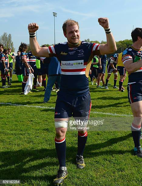 Michael Hills of Doncaster Knights celebrates at the end of the match during the Greene King IPA Championship Play Off Second Leg match between...