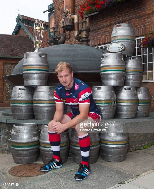 Michael Hills of Doncaster Knights poses for a photo during the 2014/15 Greene King IPA Championship Captains photocall at Greene King IPA brewery on...