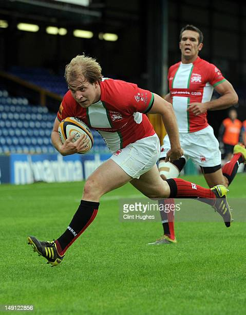 Michael Hills of London Welsh in action during the JP Morgan Asset Management Premiership Rugby 7's Series 2012 match at Edgeley Park on July 20 2012...