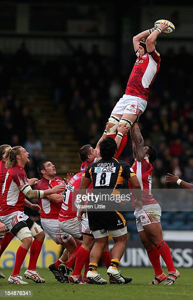 Michael Hills of London Welsh wins the line out ball during the Aviva Premiership match between London Wasps and London Welsh at Adams Park on...