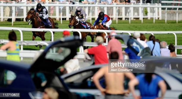 Michael Hills riding Barney Rebel win The Investec Specialist Bank Maiden Stakes at Epsom racecourse on April 20 2011 in Epsom England