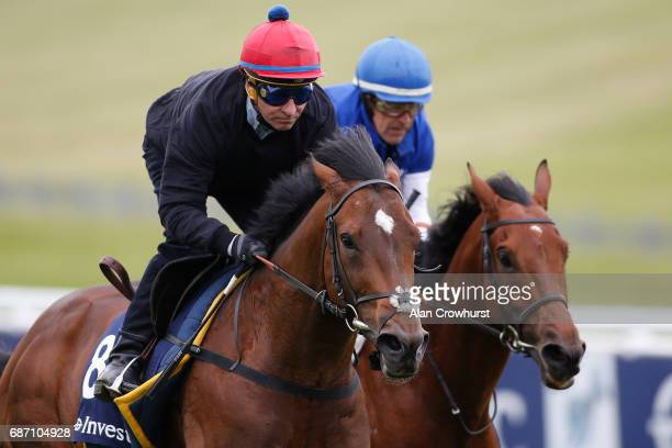 Michael Hills riding Best Of Days gallop at Epsom Racecourse on May 23 2017 in Epsom England