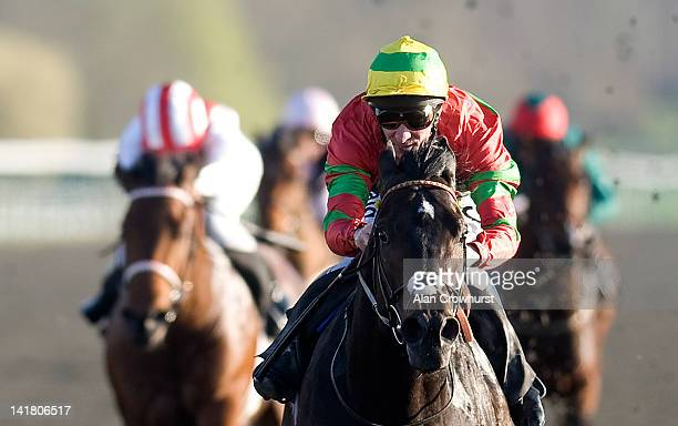 Michael Hills riding Forgotten Hero win The Follow Us on Twitter @bluesq Maiden Stakes at Lingfield racecourse on March 24 2012 in Lingfield England