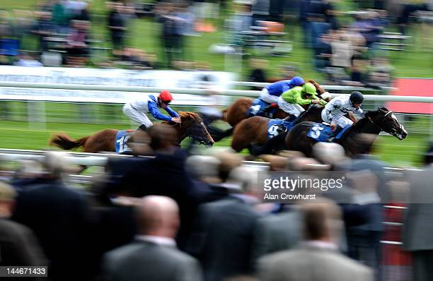 Michael Hills riding Funk Soul Brother win The Stratford Place Stud For International Group 1 Winners EBF Maiden Stakes at York racecourse on May 17...