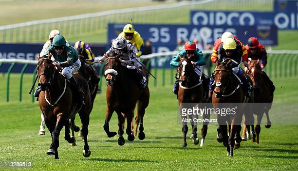 Michael Hills riding Green Destiny win The Qipco Sponsors British Champions Series Suffolk Stakes at Newmarket racecourse on April 30 2011 in...