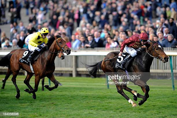 Michael Hills riding Just The Judge win The visionae Rockfel Stakes at Newmarket racecourse on October 13 2012 in Newmarket England