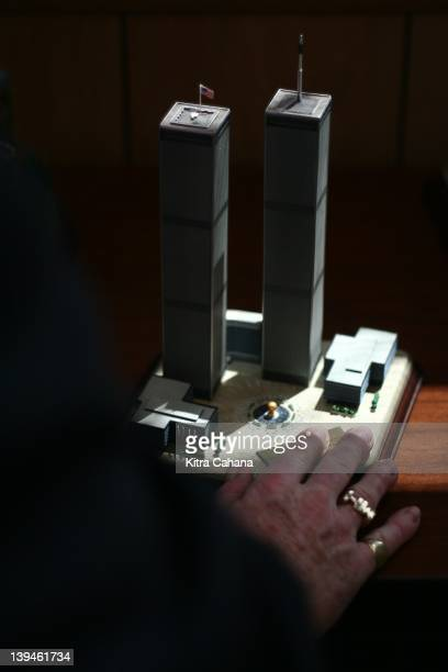 Michael Hingson visits the National Federation of the Blind on April 30 2007 in Baltimore Maryland Here he touches a model of the World Trade Center...