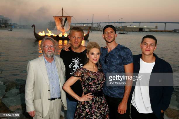 Michael Hirst Alexander Ludwig Katheryn Winnick Gustaf Skarsgard and Alex Hogh Andersen of HISTORY'S 'Vikings' attend the Viking Funeral Ceremony at...