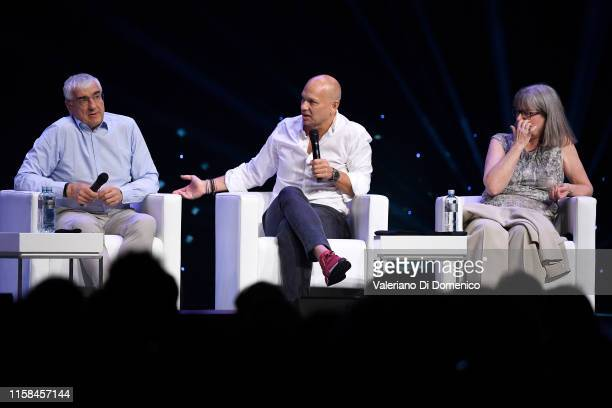 Michael Hitze Tony Fadell and Donna Strickland attends Starmus V A Giant Leap sponsored by Kaspersky at Samsung Hall on June 26 2019 in Zurich...
