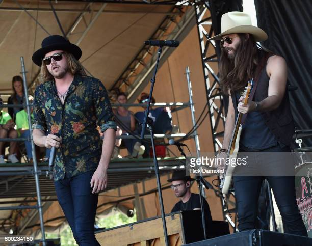 Michael Hobby and Graham Deloach of A Thousand Horses perform during Kicker Country Stampede Day 2 at Tuttle Creek State Park on June 23 2017 in...