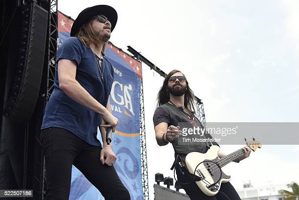 Michael Hobby and Graham Deloach of A Thousand Horses perform onstage during Tortuga Music Festival on April 16 2016 in Fort Lauderdale Florida