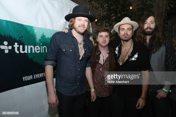 Michael Hobby Bill Satcher Zach Brown and Graham DeLoach of A Thousand Horses attend The Big Machine Label Group Showcase at TuneIn Studios @ SXSW...