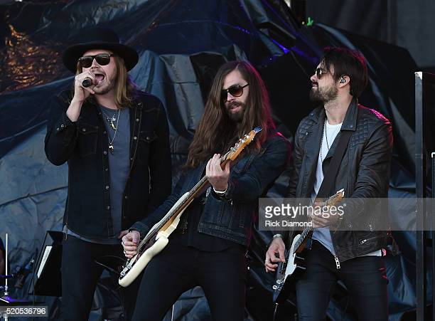 Michael Hobby Graham Deloach and Zach Brown of A Thousand Horses perform at County Thunder Music Festivals Arizona Day 4 on April 10 2016 in Florence...