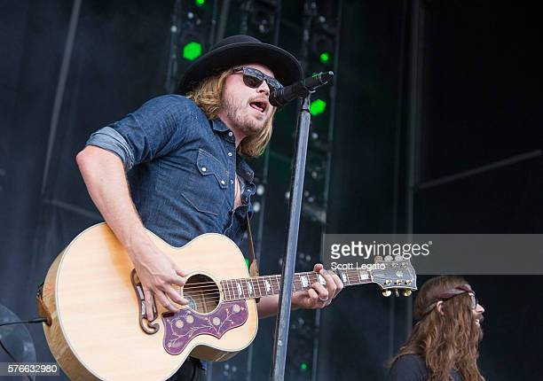 Michael Hobby of A Thousand Horses performs during Faster Horses Festival at Michigan International Speedway on July 16 2016 in Brooklyn Michigan