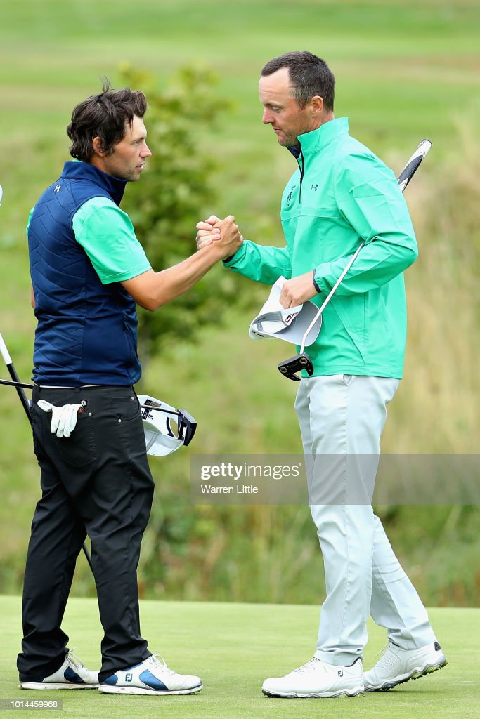 Michael Hoey and Neil O'Briain of Ireland celebrate winning their match during day three of the European Golf Team Championships at Gleneagles on August 10, 2018 in Auchterarder, Scotland. This event forms part of the first multi-sport European Championships.