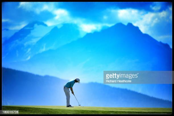 Michael Hoey of Northern Ireland in action during the first round of the Omega European Masters at the CranssurSierre Golf Club on September 5 2013...