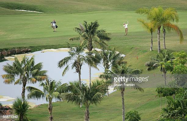 Michael Hoey of Northern Ireland plays his approach shot on the third hole during the second round of The Abama Open de Canarias at The Abama Hotel...